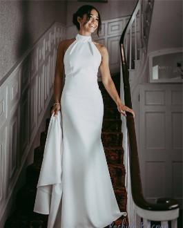 Megan Markle reception wedding gown replica. Original designed by Stella McCartney and replica created by Shauna Fay.