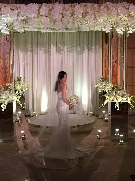 Nikki looks perfect in her Mark Zunini wedding dress.