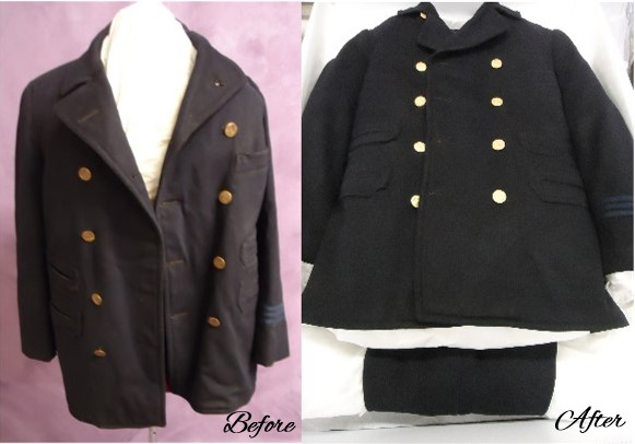Henry Dallas Harrington's streetcar conductor uniform before and after uniform restoration and preservation