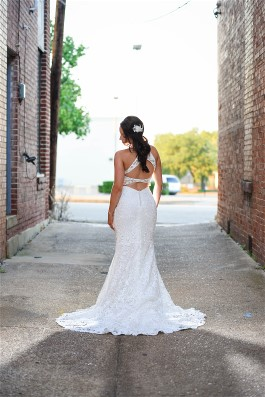 Jessica was the first bride to try on this beautiful new Morilee design.