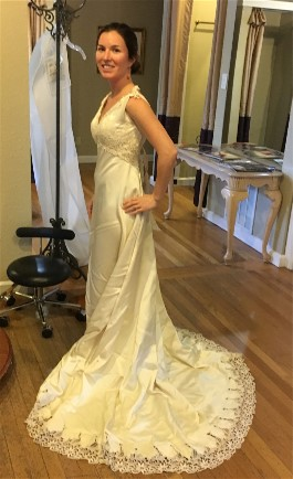 Maura's vintage wedding gown after removing bodice lace and sleeves. Click on photo to see enlarged.
