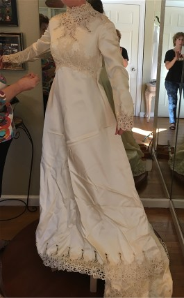 Maura's vintage wedding gown before transformations. Click on photo to see enlarged.