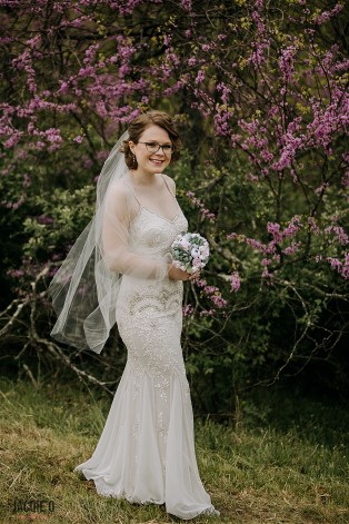 Rebeccah in her wedding dress before the ceremony.
