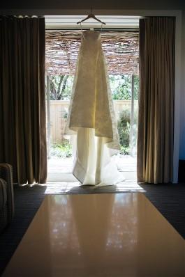 Melissa's beautiful Harper wedding dress by oscar de la Renta.
