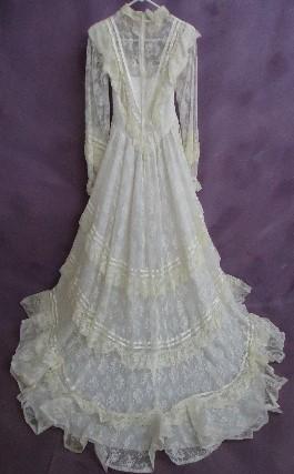 Kathleen's wedding dress BEFORE wedding dress restoration.