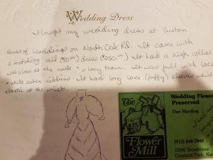 Kathleen Scanlon's bridal book write up about wedding dress. Wedding dress restoration whitens Kathleen's wedding dress again.