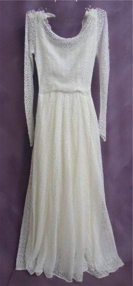 Emma's gown after wedding dress restoration.