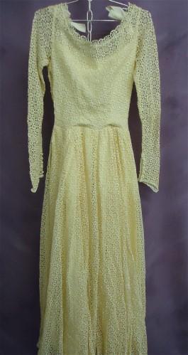 Emma's gown before wedding dress restoration.