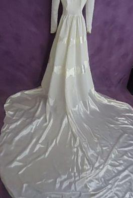 The back of Monette's wedding dress after restoration.