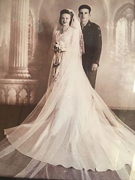 Monette's mother in her wedding dress in 1943.