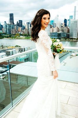 Brittany's stunning gown with the NYC skyline in the background