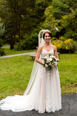 Laura's beautiful gown on her wedding day