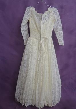 Back of dress after wedding gown restoration
