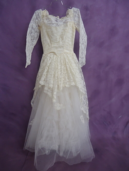 Front of dress before wedding gown restoration