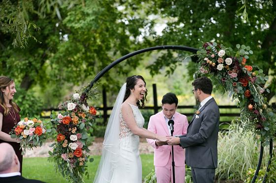 Rebecca's joyful smile on her wedding day