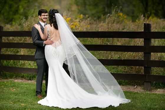 Joyful smiles on their wedding day